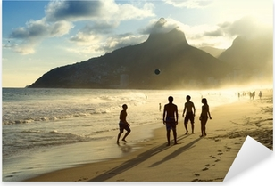 Sunset Silhouettes Playing Altinho Futebol Beach Football Brazil Pixerstick Sticker