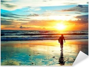 Pixerstick Sticker Sunset Surfer
