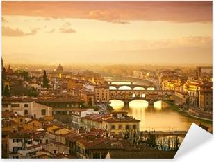 Pixerstick Sticker Sunset uitzicht op de brug Ponte Vecchio. Florence, Italië