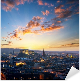 Sunset view of Edinburgh, UK Pixerstick Sticker