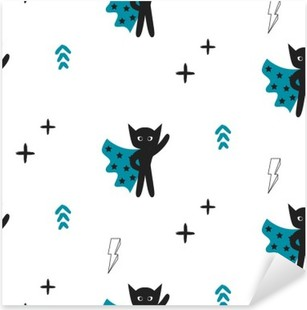 Superhero in blue cape with stars seamless kid pattern. Hero boy in mask black and white pattern for baby textile prints. Pixerstick Sticker