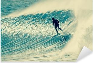 Sticker Pixerstick Surf Surfer Riding Vague