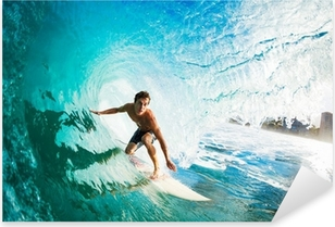 Surfer on Blue Ocean Wave in the Tube Getting Barreled Pixerstick Sticker