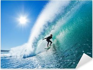 Surfer on Blue Ocean Wave Pixerstick Sticker