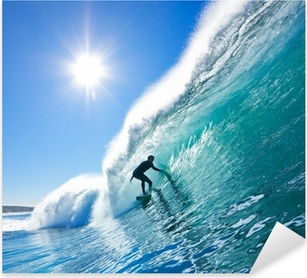 Surfer on Blue Ocean Wave Pixerstick Sticker