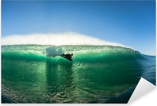 Surfing Bodyboarder Inside Hollow Wave Colors Pixerstick Sticker