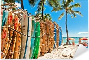 Pixerstick Sticker Surfplanken in het rek op Waikiki Beach - Honolulu