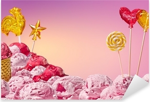 sweet magical landscape of ice cream and candy Pixerstick Sticker