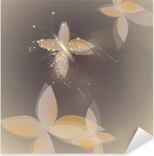 Sweet shinning butterfly / Fairy background Pixerstick Sticker