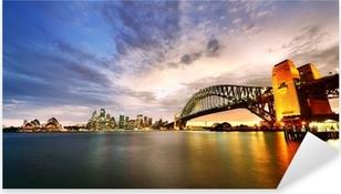 Pixerstick Sticker Sydney Harbor Panorama bij schemering