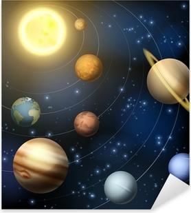 Sticker Pixerstick Système solaire planètes illustration