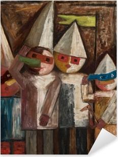 Sticker Pixerstick Tadeusz Makowski - Carnaval des enfants avec un drapeau