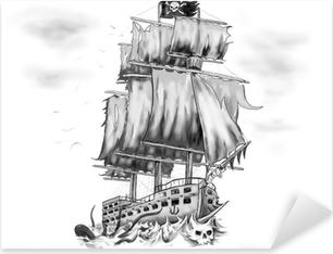 Sticker Pixerstick Tatouage oeuvre bateau pirate vaisseau fantôme