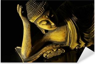 Pixerstick Sticker Teak hout liggende Boeddha op zwart