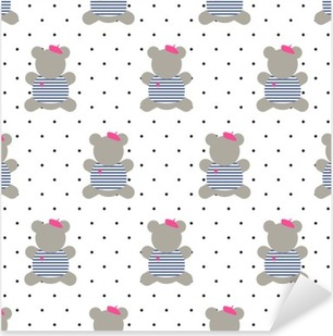 Teddy bear seamless pattern. Cute cartoon french style dressed teddy bear vector illustration on polka dots background. Fashion design for textile, wallpaper, web, fabric, decor etc. Pixerstick Sticker