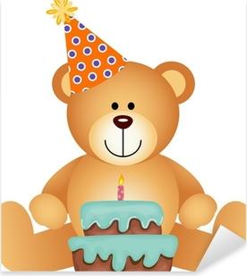 Teddy Bear with Birthday Cake Pixerstick Sticker