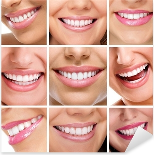 teeth collage of people smiles Pixerstick Sticker