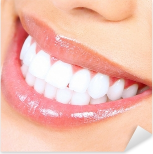 Teeth whitening. Woman smile. Pixerstick Sticker