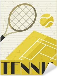 Pixerstick Sticker Tennis. Retro poster in plat design stijl.