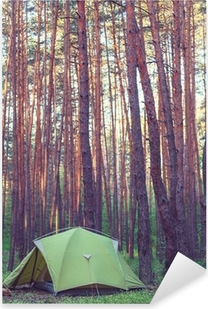 Tent in the forest Pixerstick Sticker