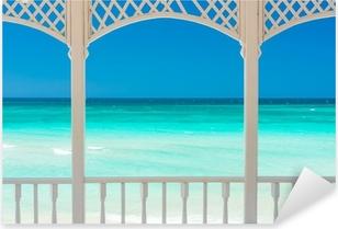 Terrace with a view of a tropical beach in Cuba Pixerstick Sticker