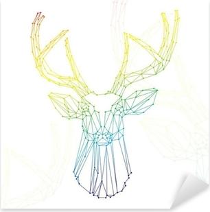 Sticker Pixerstick Tête d'arc cerf sur fond blanc