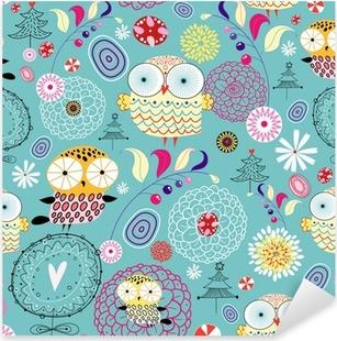 Sticker Pixerstick Texture de fleurs avec des hiboux