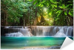 Thailand waterfall in Kanchanaburi (Huay Mae Kamin) Pixerstick Sticker