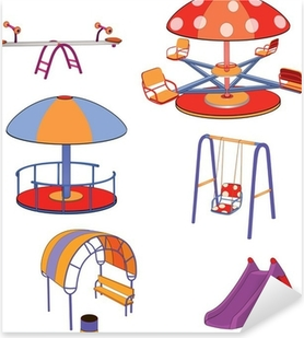 The complete set a children's swing. Cartoon Pixerstick Sticker