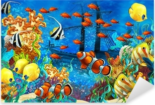The coral reef - illustration for the children Pixerstick Sticker