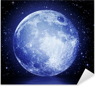 The full moon in the night sky reflected in water Pixerstick Sticker