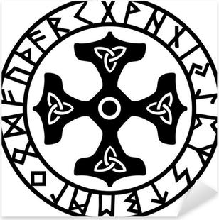 Sticker Pixerstick Thors Hammer, Runen Kreis