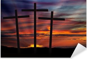 three crosses at sunset Pixerstick Sticker