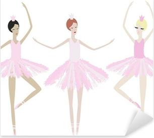 Three graceful ballerinas dance in identical dresses Pixerstick Sticker