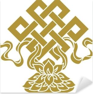 Tibetanischer Endlos Knoten, Lotus Schale - Glückssymbol Pixerstick Sticker