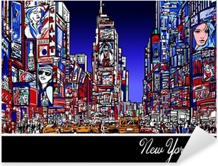 Sticker Pixerstick Times Square à New York la nuit