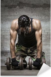 tired muscle athlete Pixerstick Sticker