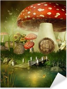 Sticker Pixerstick Toadstool chalet de conte de fées