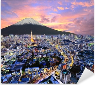 Tokyo and Fuji Pixerstick Sticker