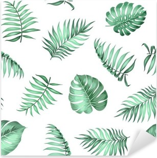 Topical palm leaves on seamless pattern for fabric texture. Vector illustration. Pixerstick Sticker