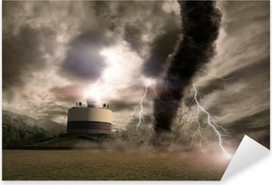 Tornado with lightning over a meteo station Pixerstick Sticker