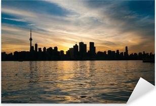 Pixerstick Sticker Toronto skyline bij zonsondergang