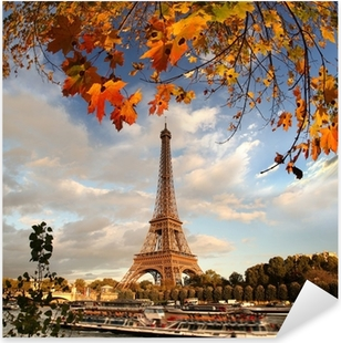 Sticker Pixerstick Tour Eiffel avec des feuilles d'automne à Paris, France