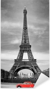 Pixerstick Sticker Tour Eiffel et voiture rouge-Parijs