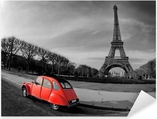 Tour Eiffel et voiture rouge- Paris Pixerstick Sticker