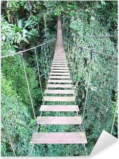 Pixerstick Sticker Touwbrug op hoge bos boom, Chiang Mai, Thailand