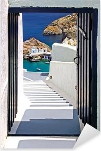 Traditional architecture of Oia village on Santorini island, Gre Pixerstick Sticker