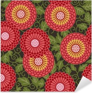 Traditional flowers seamless pattern Pixerstick Sticker