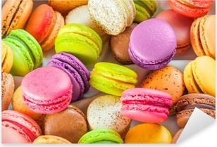 traditional french colorful macarons in a box Pixerstick Sticker