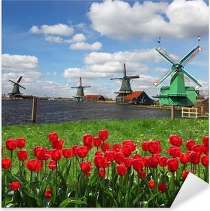 Pixerstick Sticker Traditionele Nederlandse windmolens met rode tulpen, Amsterdam, Nederland